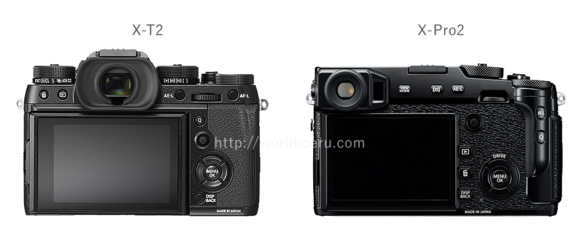 X-T2 X-Pro2 裏側画像比較